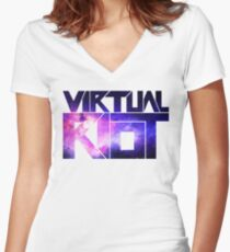 Virtual Riot Logo Space Women's Fitted V-Neck T-Shirt