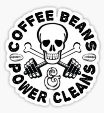 Coffee Beans & Power Cleans Workout Stuff Sticker