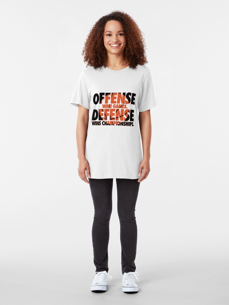Alternate view of Offense wins games, defense wins championships Slim Fit T-Shirt