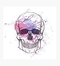 Human skull with watercolor splash Photographic Print