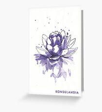 Purple water lilly Tarjeta de felicitación