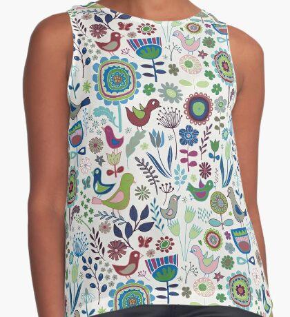 Birds and Blooms - Iznik - Pretty Floral Bird Pattern by Cecca Designs Contrast Tank