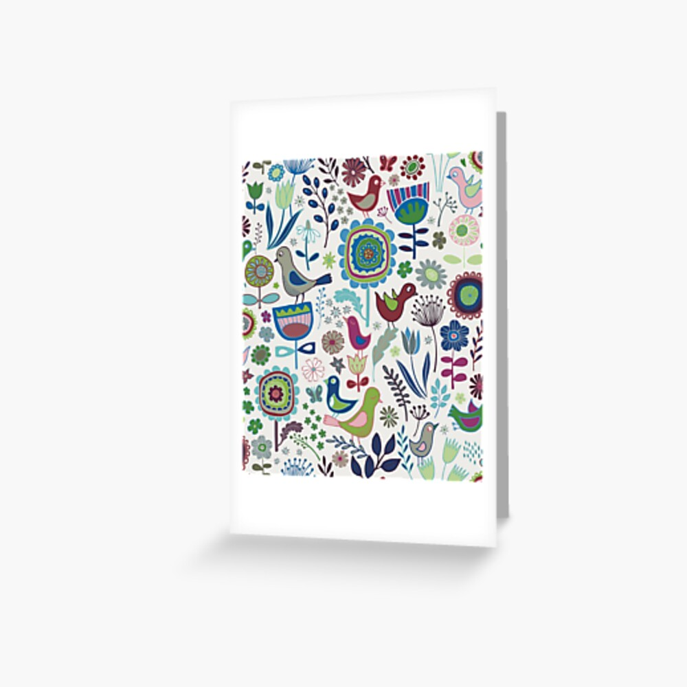 Birds and Blooms - Iznik - Pretty Floral Bird Pattern by Cecca Designs Greeting Card