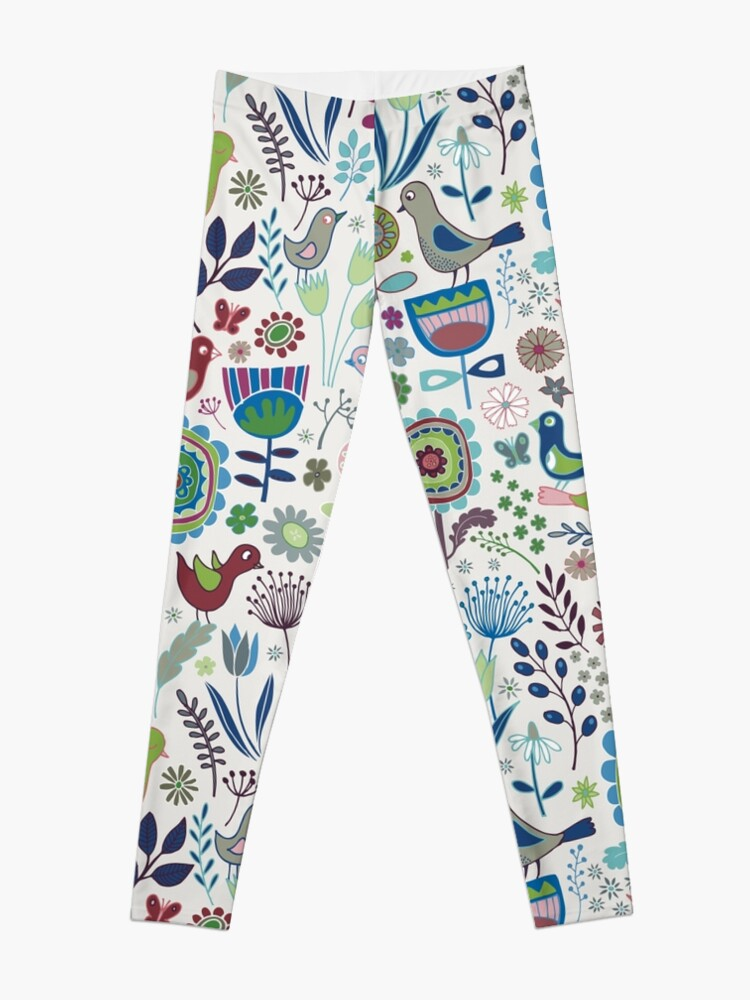 Alternate view of Birds and Blooms - Iznik - Pretty Floral Bird Pattern by Cecca Designs Leggings
