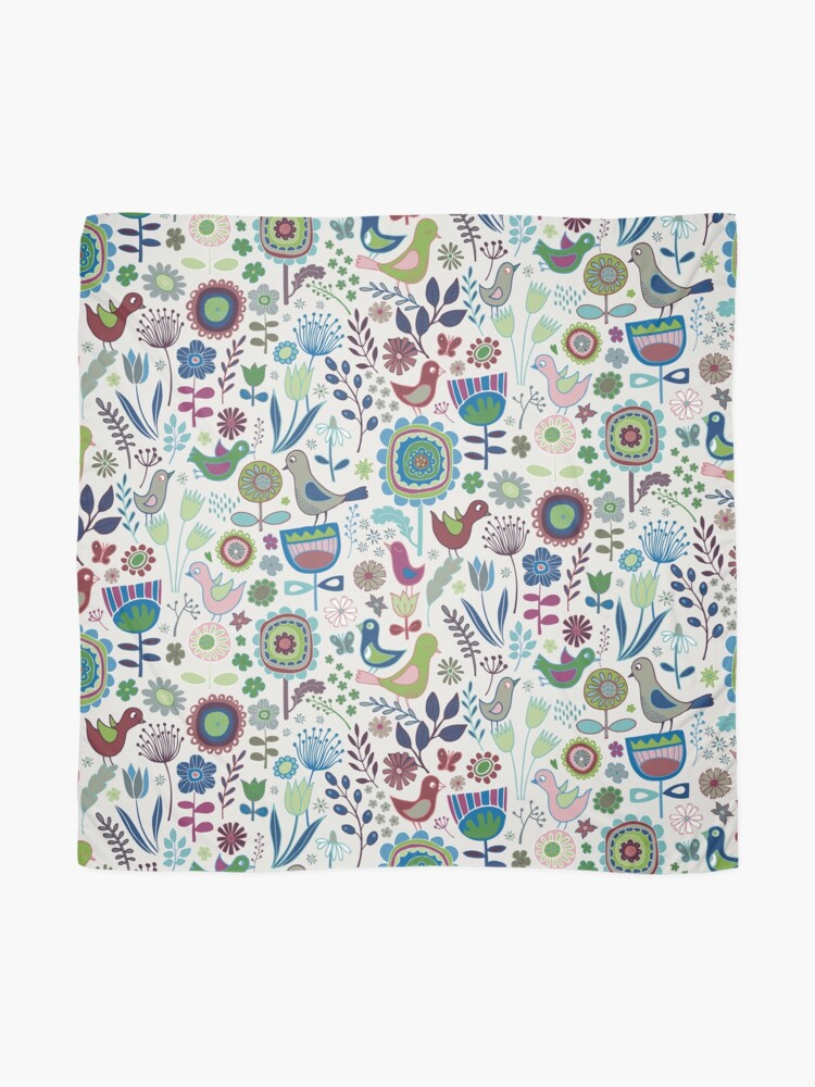 Alternate view of Birds and Blooms - Iznik - Pretty Floral Bird Pattern by Cecca Designs Scarf
