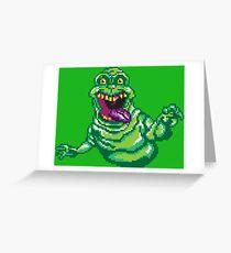 Ghostbusters Slimer Pixel Art Greeting Card