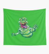 Ghostbusters Slimer Pixel Art Wall Tapestry