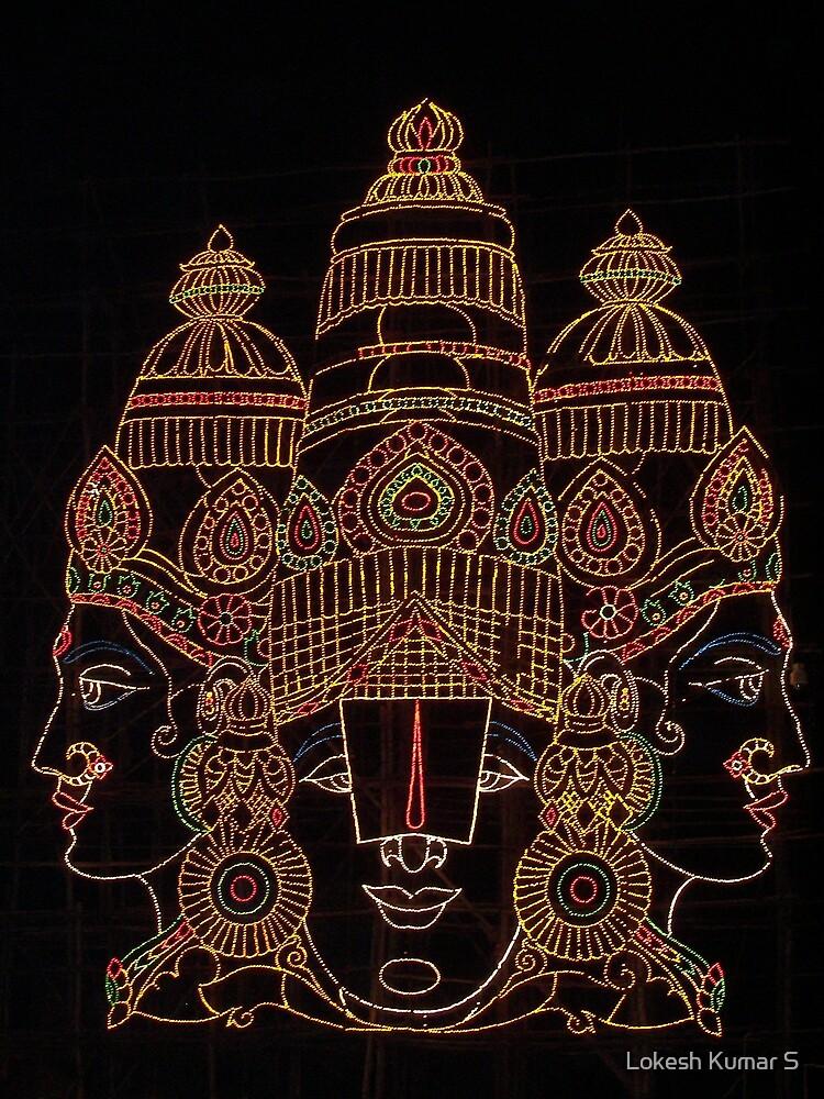 Lord Srinivas depicted in lights by Lokesh Kumar S