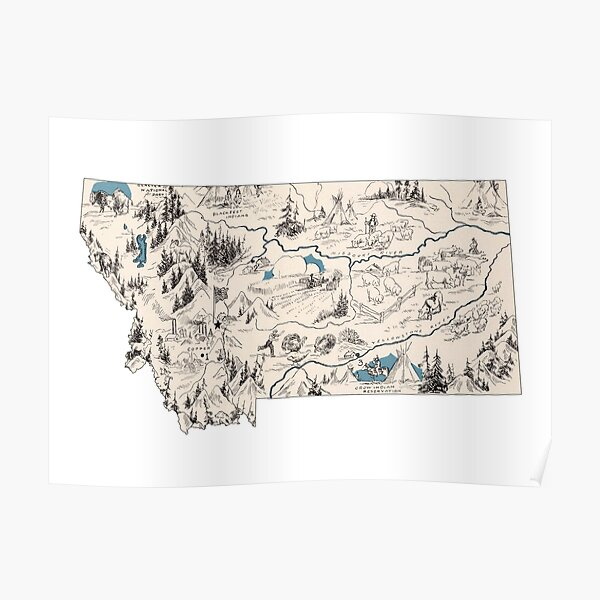 Montana Vintage Picture Map Poster