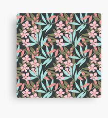 Tropical Peach Flowers with Turquoise and Sage Green  LeavesLeaves Canvas Print