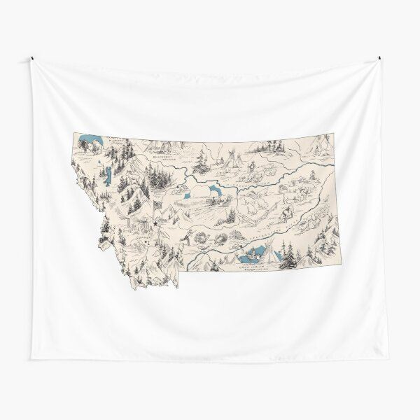 Montana Vintage Picture Map Tapestry