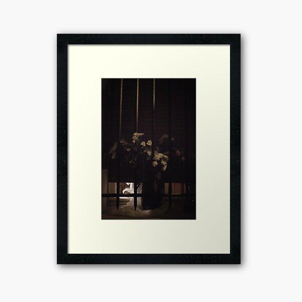 she left flowers for him and went away.. Framed Art Print