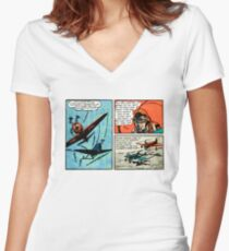 Flat Earth Comics - You'd Fly Off the Globe Women's Fitted V-Neck T-Shirt