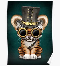 Steampunk Baby Tiger Cub Teal Blue Poster
