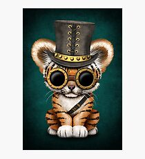Steampunk Baby Tiger Cub Teal Blue Photographic Print