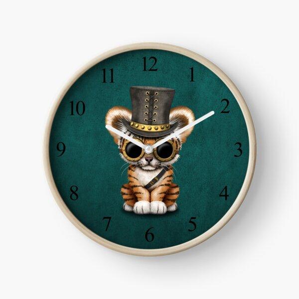 Steampunk Baby Tiger Cub Teal Blue Clock
