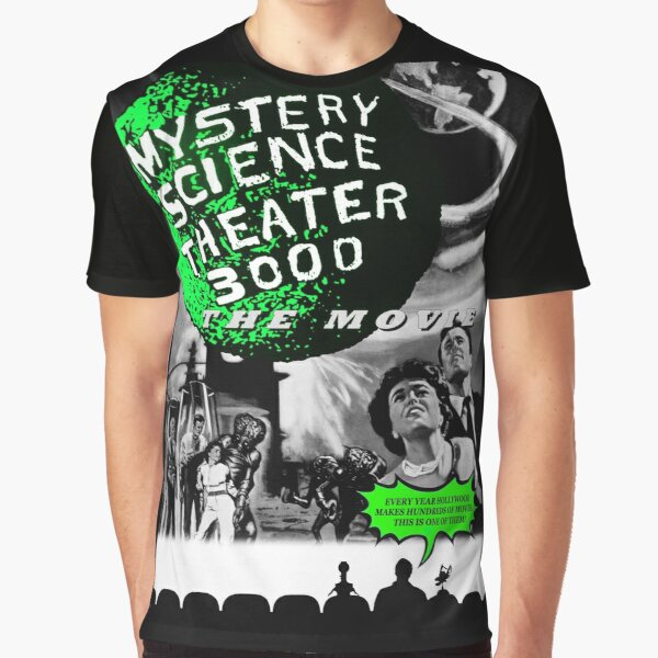 MST3K The Movie Black and White Poster Graphic T-Shirt