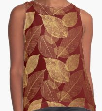 Deep Red with Faux Gold Foil Leaf Print Contrast Tank