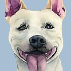 White Staffordshire Bull Terrier Dog Watercolor Portrait by namibear