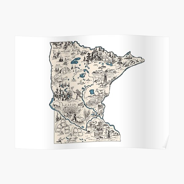 Minnesota Vintage Picture Map Poster