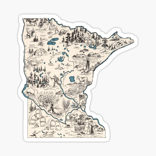 Minnesota Vintage Picture Map Sticker