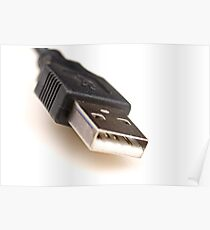 A black usb cable connector isolated on white Poster