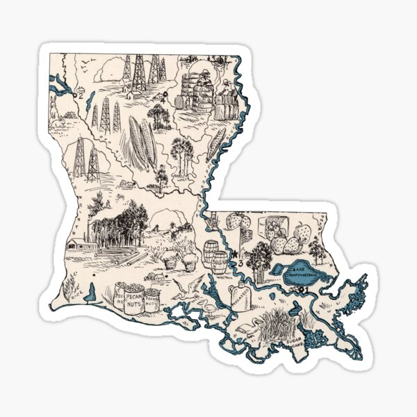 Louisiana Vintage Picture Map Sticker