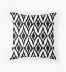 Seamless black and white ikat ethnic pattern Throw Pillow