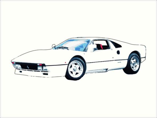 White Ferrari Art Print By Nataliejski