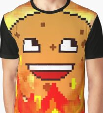 Pixellated Flaming Cookie Graphic T-Shirt