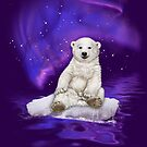 Northern Lights Polar Bear by Beverly Lussier