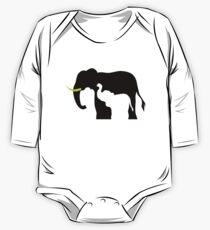 Black and White Elephants One Piece - Long Sleeve