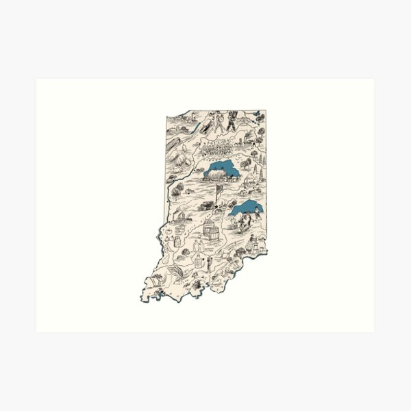 Indiana Vintage Picture Map Art Print