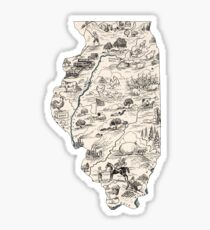 Illinois Vintage Picture Map Sticker