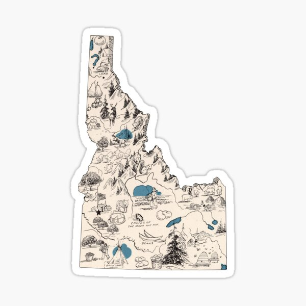 Idaho Vintage Picture Map Sticker