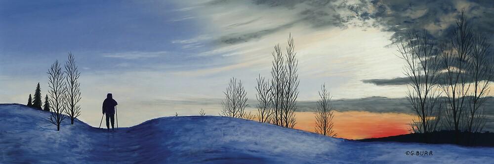 Skier Sunset by GeorgeBurr