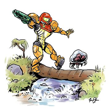 Samus and Metroid by daoustdraws