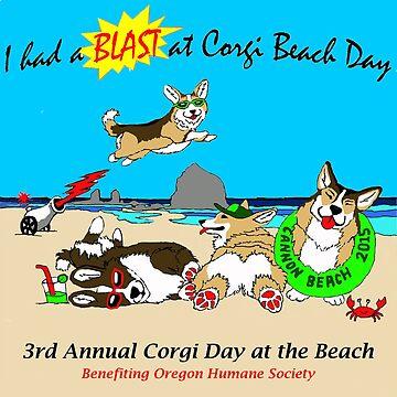 "Corgi Beach Day ""Blast"" by PortlandCorgi"
