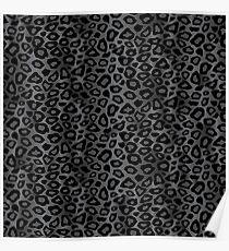Gray Leopard Animal Pattern Poster