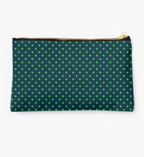 Mini Navy and Neon Lime Green Polka Dots Studio Pouch
