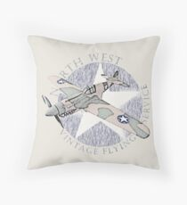 Vintage Flying Airplane Service Throw Pillow