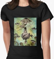 Undersea Steampunk: Aurelia & her Jelly Cruiser Womens Fitted T-Shirt