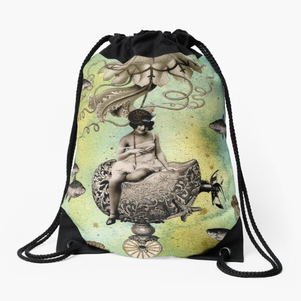 Undersea Steampunk: Aurelia & her Jelly Cruiser Drawstring Bag