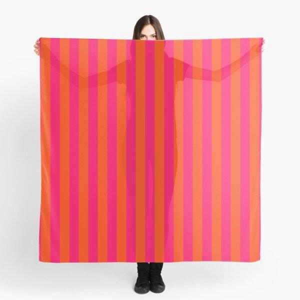 Orange Pop and Hot Neon Pink Vertical Stripes Scarf