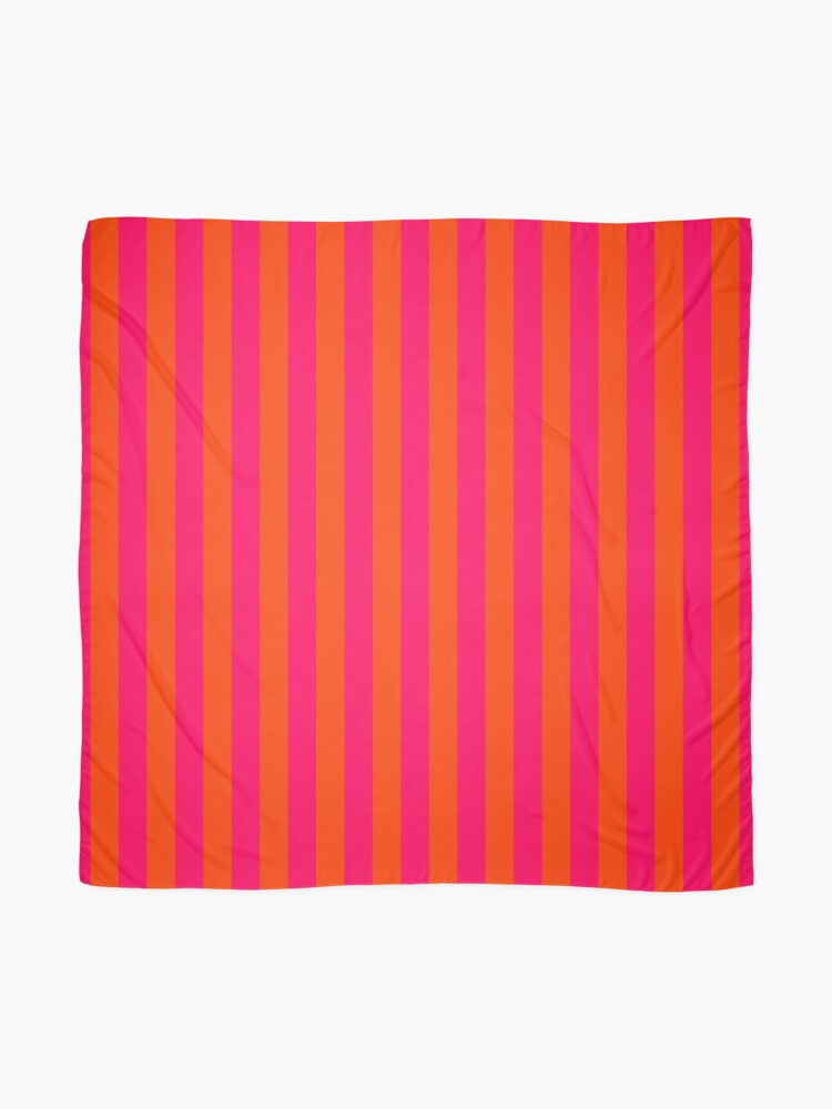 Alternate view of Orange Pop and Hot Neon Pink Vertical Stripes Scarf