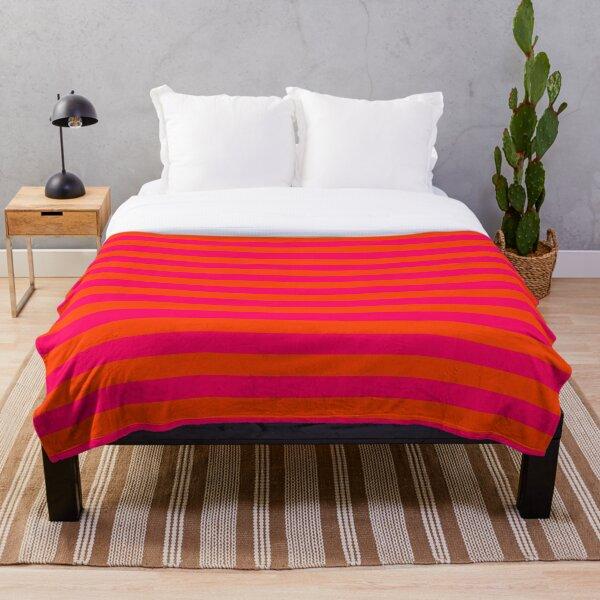 Orange Pop and Hot Neon Pink Horizontal Stripes Throw Blanket