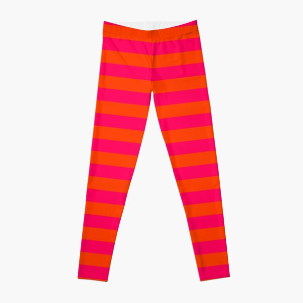 Orange Pop and Hot Neon Pink Horizontal Stripes Leggings