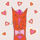Happy Cat in Cap by joanherlinger