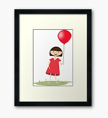 Cute girl with red balloon Framed Print