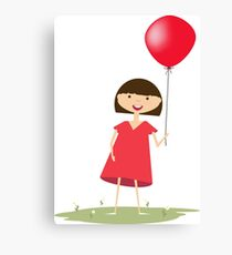 Cute girl with red balloon Canvas Print